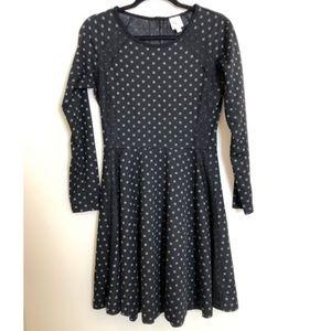 Anthro Black & Grey Long Sleeve Polka Dot Dress